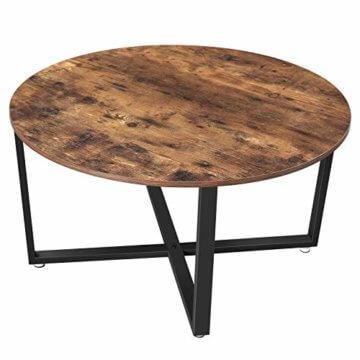VASAGLE Couchtisch rund, Wohnzimmertisch, Sofatisch, Kaffeetisch, stabiles Eisengestell, einfacher Aufbau, Industrie-Design, Vintage, dunkelbraun LCT88X - 1