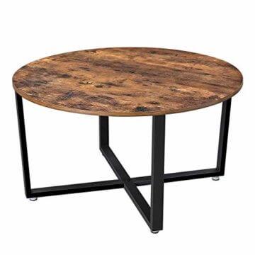 VASAGLE Couchtisch rund, Wohnzimmertisch, Sofatisch, Kaffeetisch, stabiles Eisengestell, einfacher Aufbau, Industrie-Design, Vintage, dunkelbraun LCT88X - 7