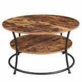 VASAGLE Couchtisch rund, Wohnzimmertisch, Sofatisch mit Ablage, einfacher Aufbau, Metall, Industrie-Design, Vintage, Dunkelbraun LCT80BX - 1