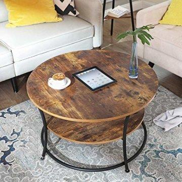 VASAGLE Couchtisch rund, Wohnzimmertisch, Sofatisch mit Ablage, einfacher Aufbau, Metall, Industrie-Design, Vintage, Dunkelbraun LCT80BX - 4