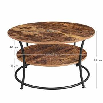 VASAGLE Couchtisch rund, Wohnzimmertisch, Sofatisch mit Ablage, einfacher Aufbau, Metall, Industrie-Design, Vintage, Dunkelbraun LCT80BX - 5