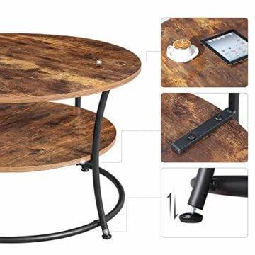 VASAGLE Couchtisch rund, Wohnzimmertisch, Sofatisch mit Ablage, einfacher Aufbau, Metall, Industrie-Design, Vintage, Dunkelbraun LCT80BX - 6