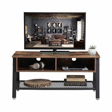 VASAGLE Fernsehtisch im Industrie-Design, TV Tisch, Lowboard, Wohnzimmertisch, stabil, mit Metallgestell und Gitterablage, 2 Schubladen, Used Look, Holzoptik Vintage LTV92X - 2