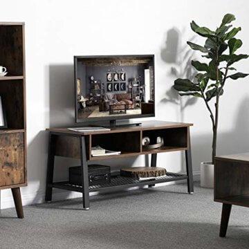 VASAGLE Fernsehtisch im Industrie-Design, TV Tisch, Lowboard, Wohnzimmertisch, stabil, mit Metallgestell und Gitterablage, 2 Schubladen, Used Look, Holzoptik Vintage LTV92X - 3