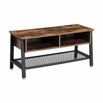 VASAGLE Fernsehtisch im Industrie-Design, TV Tisch, Lowboard, Wohnzimmertisch, stabil, mit Metallgestell und Gitterablage, 2 Schubladen, Used Look, Holzoptik Vintage LTV92X - 1
