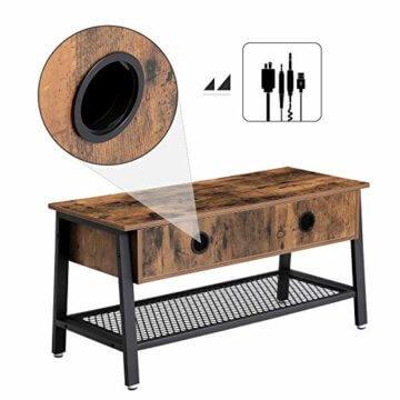 VASAGLE Fernsehtisch im Industrie-Design, TV Tisch, Lowboard, Wohnzimmertisch, stabil, mit Metallgestell und Gitterablage, 2 Schubladen, Used Look, Holzoptik Vintage LTV92X - 5