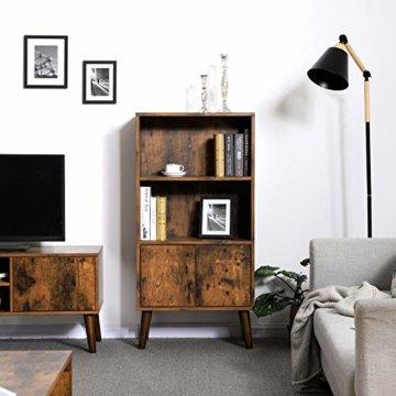 VASAGLE Retro Bücherschrank, Bücherregal mit 2 Ablagen und Schranktüren, Wohnzimmerschrank, Retro-Möbel für Wohnzimmer, Foyer, Büro, Aufbewahrung für Bücher, Fotos, Deko, Holzoptik LBC09BX - 2