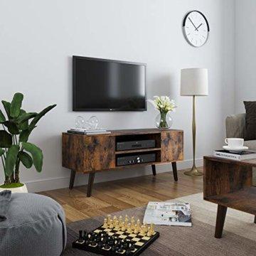 VASAGLE Retro Lowboard, TV-Regal, Fernsehtisch, Fernsehschrank im 50/60er Jahre Look, Retro-Möbel für Ihren Flachbildschirm, Spielekonsolen, Wohnzimmer, Büro, Holzoptik LTV08BX - 2