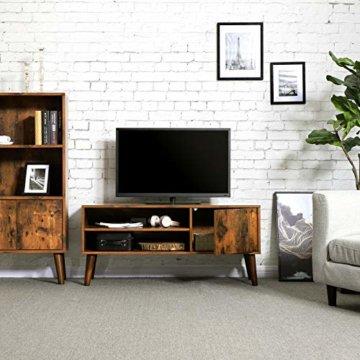VASAGLE Retro Lowboard, TV-Regal, Fernsehtisch, Fernsehschrank im 50/60er Jahre Look, Retro-Möbel für Ihren Flachbildschirm, Spielekonsolen, Wohnzimmer, Büro, Holzoptik LTV09BX - 2