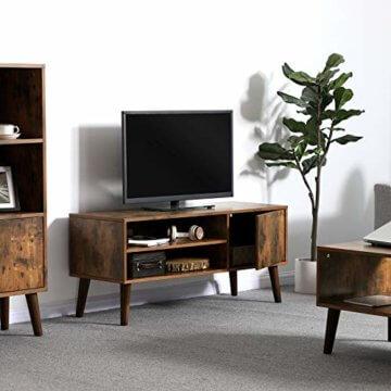 VASAGLE Retro Lowboard, TV-Regal, Fernsehtisch, Fernsehschrank im 50/60er Jahre Look, Retro-Möbel für Ihren Flachbildschirm, Spielekonsolen, Wohnzimmer, Büro, Holzoptik LTV09BX - 3