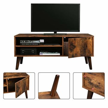 VASAGLE Retro Lowboard, TV-Regal, Fernsehtisch, Fernsehschrank im 50/60er Jahre Look, Retro-Möbel für Ihren Flachbildschirm, Spielekonsolen, Wohnzimmer, Büro, Holzoptik LTV09BX - 5