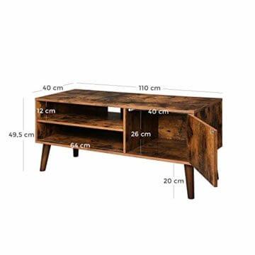 VASAGLE Retro Lowboard, TV-Regal, Fernsehtisch, Fernsehschrank im 50/60er Jahre Look, Retro-Möbel für Ihren Flachbildschirm, Spielekonsolen, Wohnzimmer, Büro, Holzoptik LTV09BX - 6
