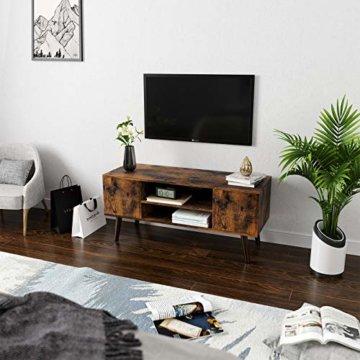 VASAGLE Retro Lowboard, TV-Regal, Fernsehtisch, Fernsehschrank im 50/60er Jahre Look, Retro-Möbel für Ihren Flachbildschirm, Spielekonsolen, Wohnzimmer, Büro, Holzoptik LTV08BX - 3