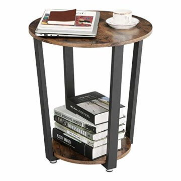VASAGLE Runder Beistelltisch, Kaffeetisch im Industrie-Design, einfacher Aufbau, Sofatisch mit Eisengestell, Tisch für Wohnzimmer, Schlafzimmer, stabil, Holzoptik Vintage LET57X - 2