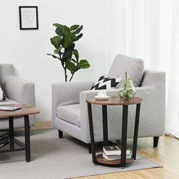 VASAGLE Runder Beistelltisch, Kaffeetisch im Industrie-Design, einfacher Aufbau, Sofatisch mit Eisengestell, Tisch für Wohnzimmer, Schlafzimmer, stabil, Holzoptik Vintage LET57X - 3