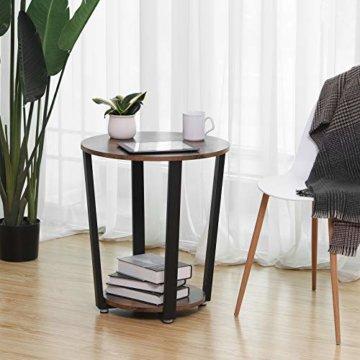 VASAGLE Runder Beistelltisch, Kaffeetisch im Industrie-Design, einfacher Aufbau, Sofatisch mit Eisengestell, Tisch für Wohnzimmer, Schlafzimmer, stabil, Holzoptik Vintage LET57X - 4