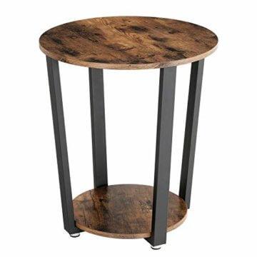 VASAGLE Runder Beistelltisch, Kaffeetisch im Industrie-Design, einfacher Aufbau, Sofatisch mit Eisengestell, Tisch für Wohnzimmer, Schlafzimmer, stabil, Holzoptik Vintage LET57X - 1