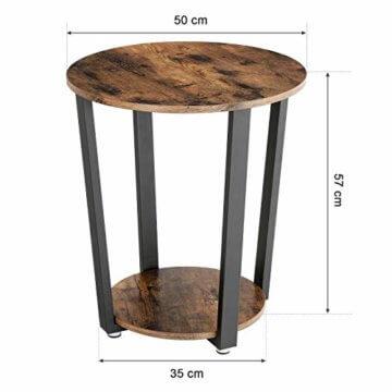 VASAGLE Runder Beistelltisch, Kaffeetisch im Industrie-Design, einfacher Aufbau, Sofatisch mit Eisengestell, Tisch für Wohnzimmer, Schlafzimmer, stabil, Holzoptik Vintage LET57X - 6