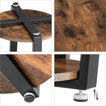 VASAGLE Runder Beistelltisch, Kaffeetisch im Industrie-Design, einfacher Aufbau, Sofatisch mit Eisengestell, Tisch für Wohnzimmer, Schlafzimmer, stabil, Holzoptik Vintage LET57X - 7