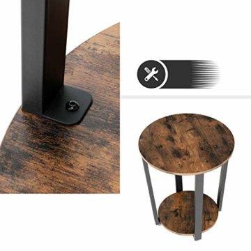 VASAGLE Runder Beistelltisch, Kaffeetisch im Industrie-Design, einfacher Aufbau, Sofatisch mit Eisengestell, Tisch für Wohnzimmer, Schlafzimmer, stabil, Holzoptik Vintage LET57X - 8