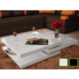 vidaXL Couchtisch 3 Ebenen Wohnzimmer Beistelltisch Hochglanz Weiß/Schwarz