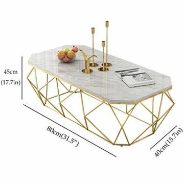 ZRXian-Kaffeetische 80x40x45cm Marmortisch/Couchtisch, moderner Effekt-Möbel-Dekor-Rechteck-Beistelltisch für Wohnzimmerhaus und Büro, Goldener Luxusrahmen - 2