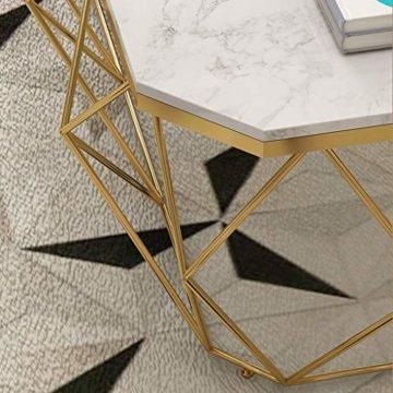ZRXian-Kaffeetische 80x40x45cm Marmortisch/Couchtisch, moderner Effekt-Möbel-Dekor-Rechteck-Beistelltisch für Wohnzimmerhaus und Büro, Goldener Luxusrahmen - 3