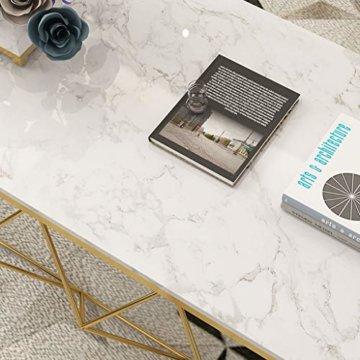 ZRXian-Kaffeetische 80x40x45cm Marmortisch/Couchtisch, moderner Effekt-Möbel-Dekor-Rechteck-Beistelltisch für Wohnzimmerhaus und Büro, Goldener Luxusrahmen - 4