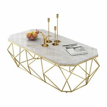 ZRXian-Kaffeetische 80x40x45cm Marmortisch/Couchtisch, moderner Effekt-Möbel-Dekor-Rechteck-Beistelltisch für Wohnzimmerhaus und Büro, Goldener Luxusrahmen - 1