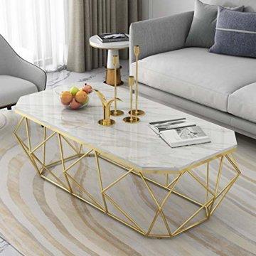 ZRXian-Kaffeetische 80x40x45cm Marmortisch/Couchtisch, moderner Effekt-Möbel-Dekor-Rechteck-Beistelltisch für Wohnzimmerhaus und Büro, Goldener Luxusrahmen - 5