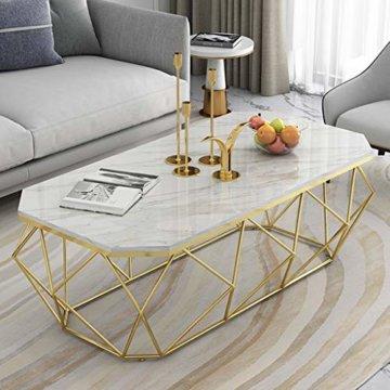 ZRXian-Kaffeetische 80x40x45cm Marmortisch/Couchtisch, moderner Effekt-Möbel-Dekor-Rechteck-Beistelltisch für Wohnzimmerhaus und Büro, Goldener Luxusrahmen - 6