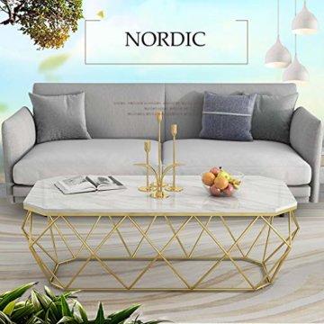 ZRXian-Kaffeetische 80x40x45cm Marmortisch/Couchtisch, moderner Effekt-Möbel-Dekor-Rechteck-Beistelltisch für Wohnzimmerhaus und Büro, Goldener Luxusrahmen - 7