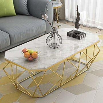 ZRXian-Kaffeetische 80x40x45cm Marmortisch/Couchtisch, moderner Effekt-Möbel-Dekor-Rechteck-Beistelltisch für Wohnzimmerhaus und Büro, Goldener Luxusrahmen - 8