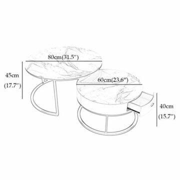 ZRXian-Kaffeetische Satz von 2 stapelbaren Couchtischen für das Wohnzimmer, runde Elegante Nest-Beistelltische mit Schubladenablage, Stapelende Couchtische aus Marmor und Metall - 2