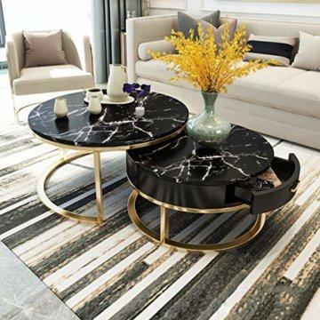 ZRXian-Kaffeetische Satz von 2 stapelbaren Couchtischen für das Wohnzimmer, runde Elegante Nest-Beistelltische mit Schubladenablage, Stapelende Couchtische aus Marmor und Metall - 1